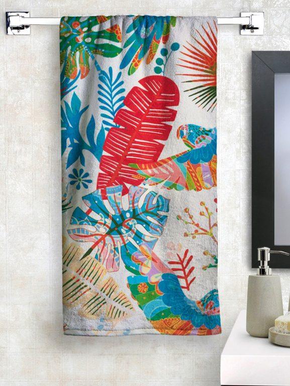 Athom Trendz Off-White & Blue feather Printed Bath Towel - best printed bath towels (2020)