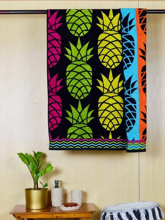 Avira Home Multicoloured Printed Cotton Bath Towel - best printed bath towels