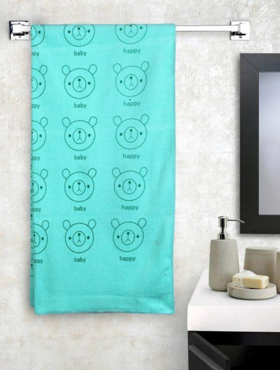 Cortina Sea Green Printed Bath Towel - best printed bath towels (2020)