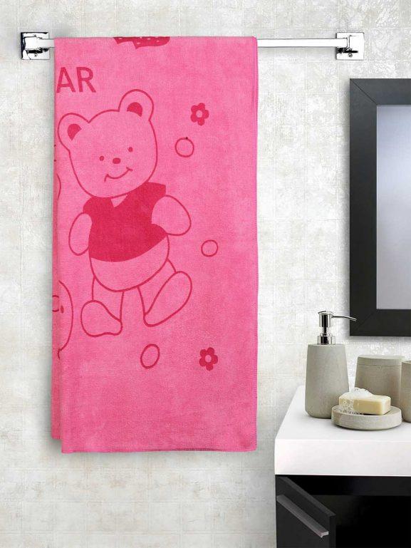 Cortina Unisex Pink Printed Bath Towel - best printed bath towels (2020)