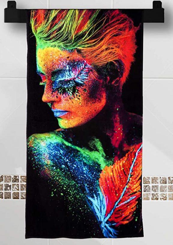 Cotfab Neon Dreams 100% Cotton Premium Printed Bath Towel- best printed bath towels (2020)