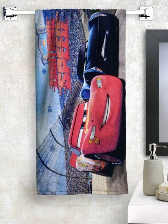 Disney Kids Blue & Red Cars Printed Bath Towel - best printed bath towels (2020)