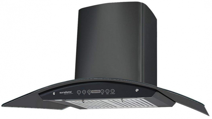 Eurodomo 90 cm Auto-Clean curved glass Kitchen Chimney (Baffle Filter, Touch Control, Black): Best Kitchen Chimney In India