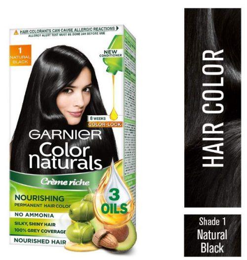 Garnier Color Naturals Crème hair color, Shade 1 Natural Black, 70ml + 60g: Hair Color Brand