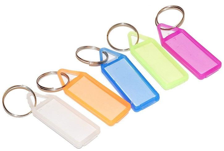 PA Pack of 50 Assorted Tag Label Multipurpose Writable Name Key Tags Keychains: Keychain