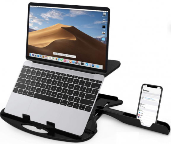 STRIFF Adjustable Laptop Stand with Free Phone Stand (Black): Laptop Stand