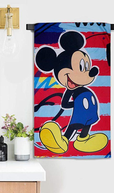 Sassoon Disney Mickey Mouse Microfiber Printed Bath Towel for Kids - best printed bath towels (2020)