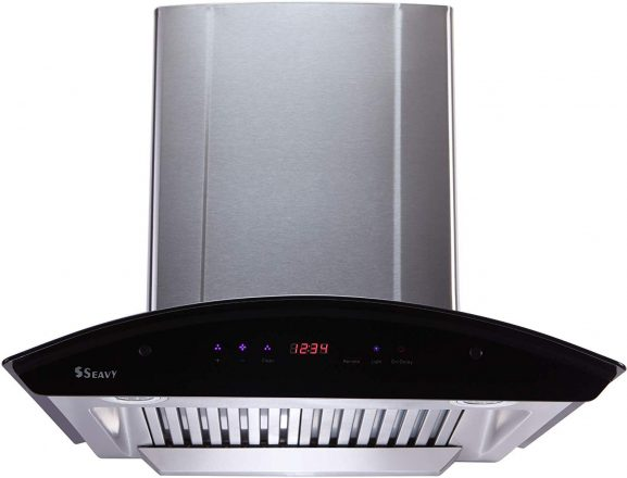 Seavy 60cm Auto Clean Chimney (2 Baffle Filter with SS Oil Cup, Touch Control, Steel/Grey: Best Kitchen Chimney In India