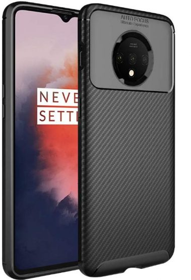 TheGiftKart Rugged Shockproof Carbon Fibre Slim Armour Back Cover Case for OnePlus 7T (Black): Best OnePlus 7T Cover
