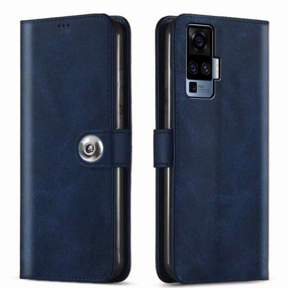 GiftKart Genuine Leather Finish Flip Cover Case: Phone Case for Vivo X50 Pro