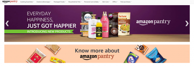 Amazon Pantry online grocery shopping store in india