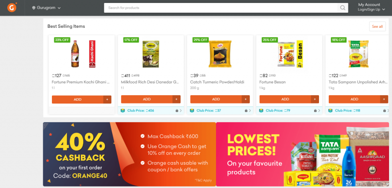 Grofers online grocery shopping store in india