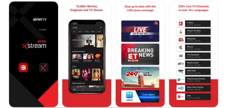 Airtel Xstream best T.V.. App