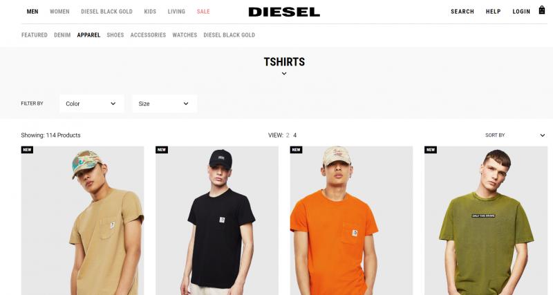Diesel clothing brand in india