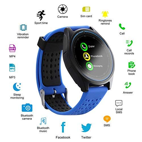 MAKECELL Blue Bluetooth Smart Watch Compatible with All 3G, 4G Phone with Camera and Sim Card Support V9 for Men boy Kids Girls and Women: Best Smart Watch To Buy Under Rs 2000