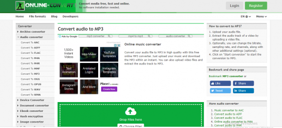 online convert - app for converting video to mp3