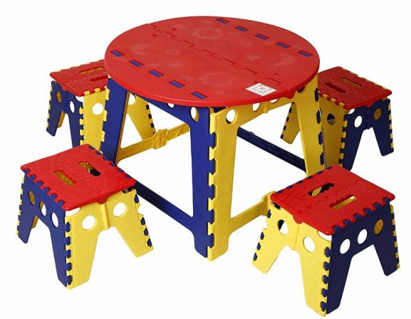 KitschKitsch Kids Play and Study, 60 x 60 x 45cm (Red, Yellow, and Blue): Best Study Table For Kids In India