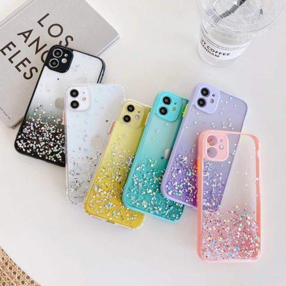 iPhone 11 Color Button Glitter Cover Case