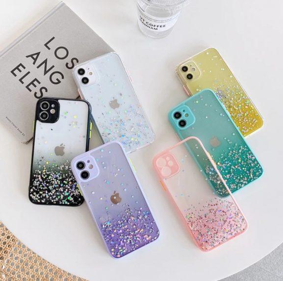 iPhone XS Color Button Glitter Cover Case 6 Colors -1