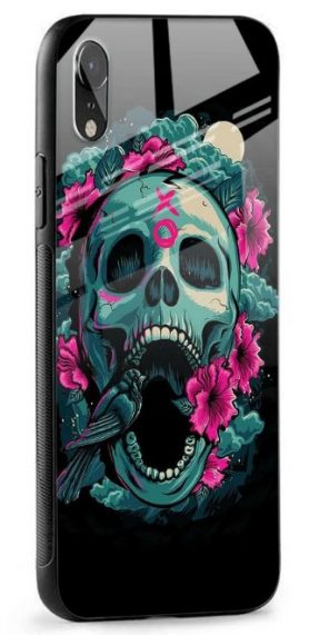 Colorful Skull Texture Glass case: iPhone Xr Cover