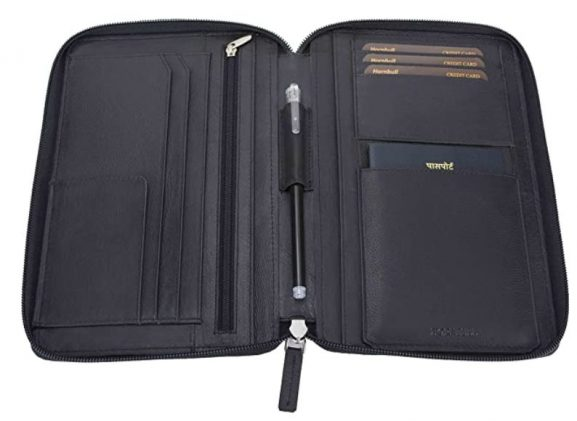 HORNBULL Black Leather Travel Document Holder: Passport Holder