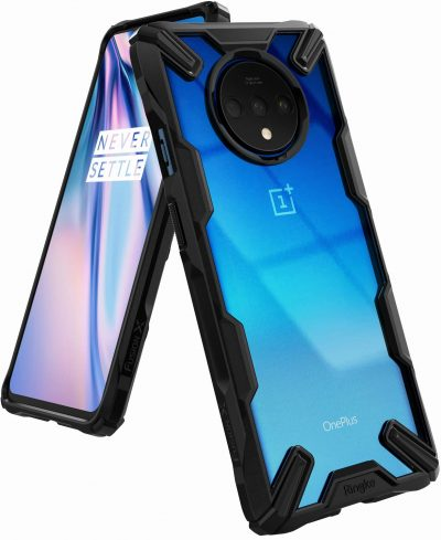 Ringke Fusion-X Designed for OnePlus 7T Case Back Cover, [Military Drop Tested] Ergonomic Transparent PC Back TPU Bumper Impact Resistant Protection for OnePlus 7T Back Cover Case (2019) - Black: Best OnePlus 7T Cover