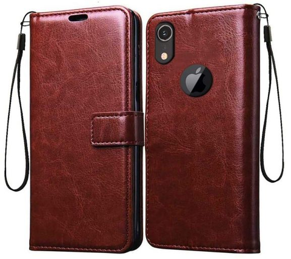 Trifty Vintage Leather Wallet Case - Brown: iPhone Xr Cover