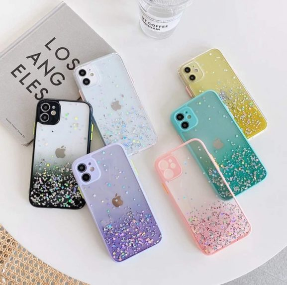 iPhone XR Color Button Glitter Cover Case