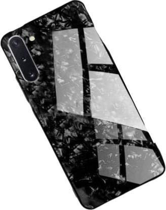 Artistque Luxurious Marble Pattern Bling Shell Back Glass Case Cover - Black