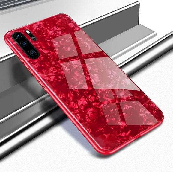 Artistque Luxurious Marble Pattern Bling Shell Back Glass Case Cover - Red