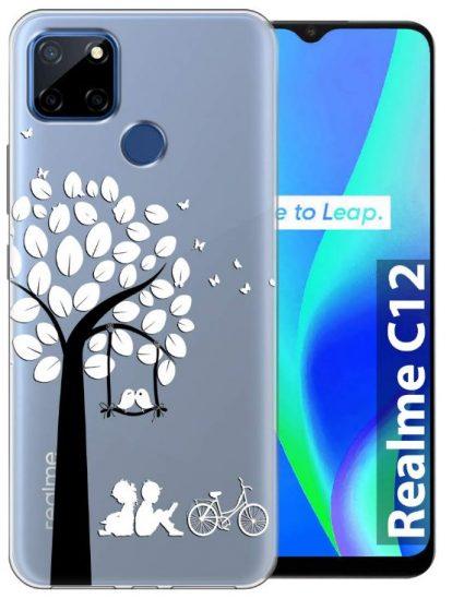 Fashionury Transparent Designer Printed Soft Back Cover: Realme C12 Case