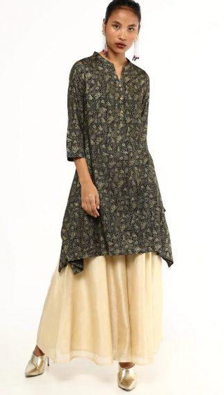 Global Desi Floral Print A-Line Kurti: Kurti Under 1000 Rupees