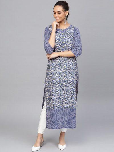 Jaipur Blue and White Cotton Kurti: Kurti Under 1000 Rupees