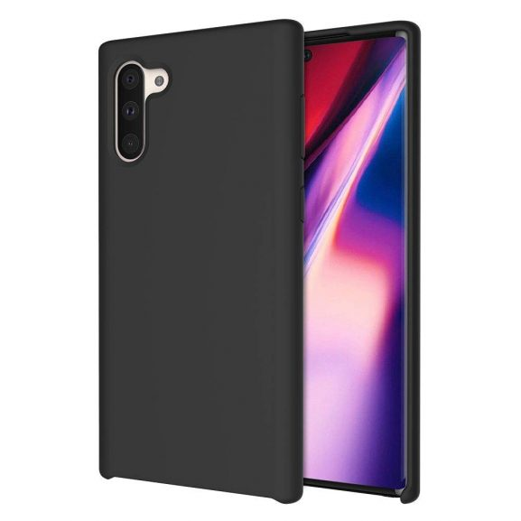 LIRAMARK Liquid Silicone Back Cover Case for Samsung Note 10 - Black