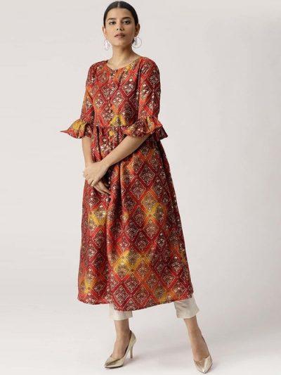 Libas Red Floral Print A-Line Kurti: Kurti Under 1000 Rupees