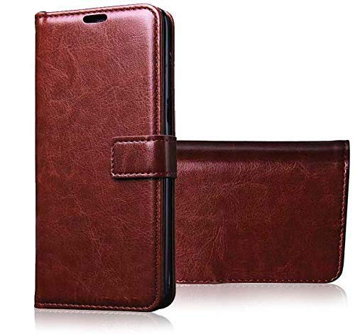 Pikkme Realme 6 Flip Cover Magnetic Leather Wallet Case Shockproof TPU for Realme 6 (Brown)