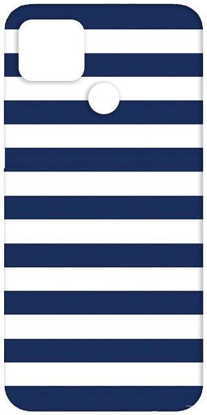 SharpEseller White Blue Horizontal Line Back Cover: Realme C12 Case