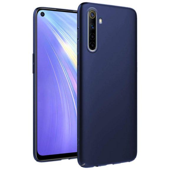 TrueObjects Back Cover Case for Realme 6 Mobile Phone | Ultra Slim Matte Finish Hard Case | Camera Protection Bump | Velvet Feel (Metallic Blue)