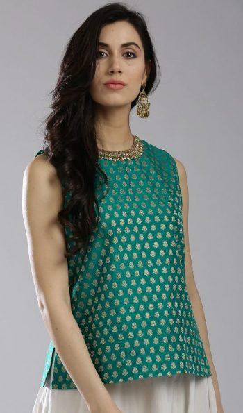W Green Printed Kurti: Kurti Under 1000 Rupees