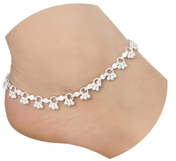 AanyaCentric Indian Traditional White Metal Anklets