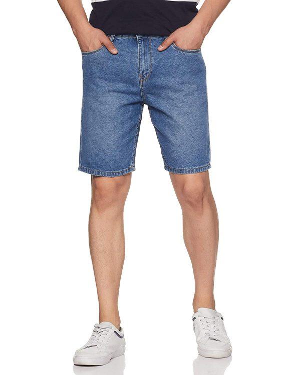 Amazon Brand - Symbol Men's Regular Fit Cotton Denim Shorts