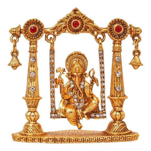 Art n Hub Bhagwan Ganesha Murti Mini Brass Dashboard Statue Figurine in Swing