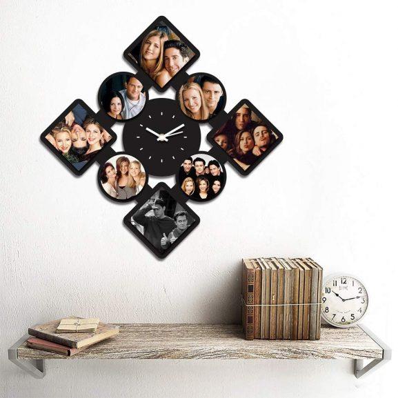 Creative Width MDF Wood 8 Pics Customized Wall Clock