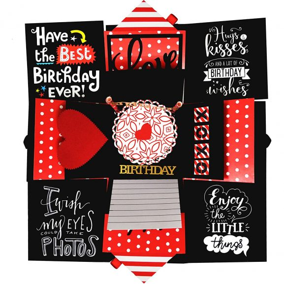 Decut Handmade Explosion Box for Birthday Anniversary Wedding All Occasion, Black and Red