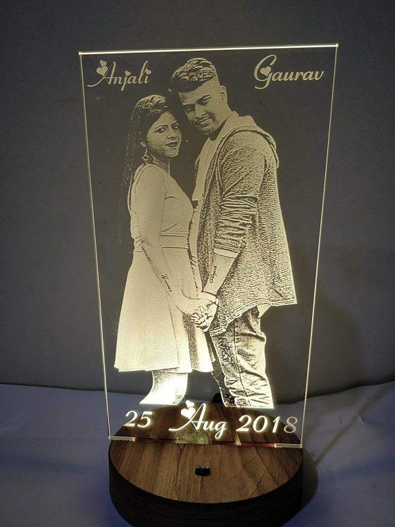 Design Elle Wood Glass Acrylic Personalised LED Lamp