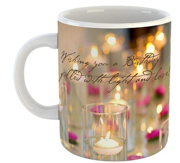 GiftOwl Happy Birthday Joy and Light Ceramic Mug: Birthday Gift For Girls