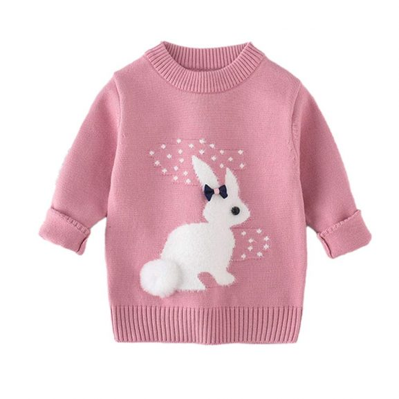 Hopscotch Baby Girls Polyester Bunny Print Full Sleeves Sweater