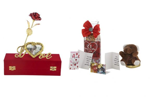 International Gift 21 Small Greeting Card Inside Message Bottle and Red Rose Flower with Photo Frame Love Stand Present 24K Golden Foil Life Long with Luxury Red Gift Box