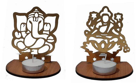 J D Products Golden Metal Decorative Shadow Divine Lord Ganesha Ganpatiji and Lakshmi Ji Tea light Candle Holder