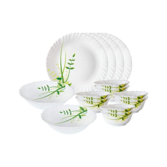Larah By Borosil Green Herbs Opalware Dinner Set